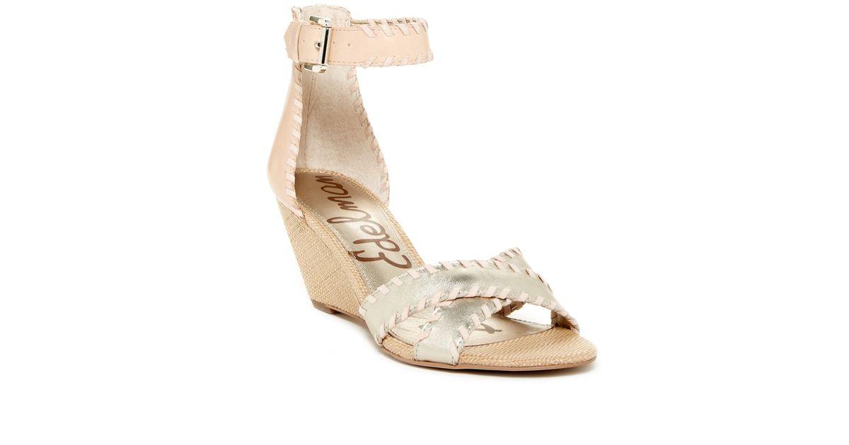 33f970997816b9 Lyst - Sam Edelman Silvia Ankle Strap Wedge Sandal in Metallic