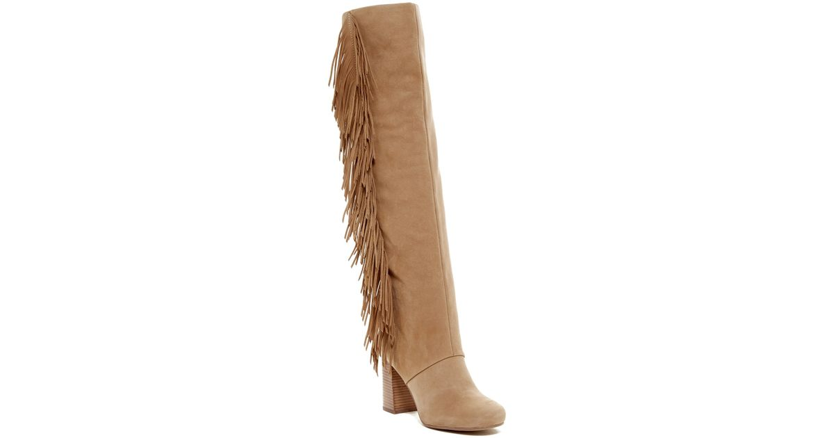 b5c90d91e6e Lyst - Sam Edelman Taylan Suede Over-The-Knee Boots in Natural