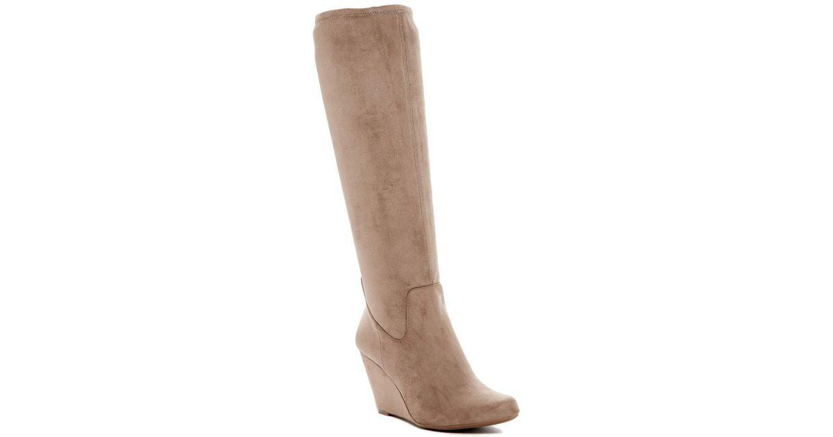 675337861dc911 Lyst - Jessica Simpson Reiki Wedge Boot in Natural