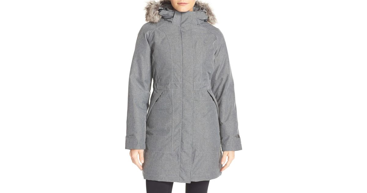 8c71c6606 The North Face Gray Arctic Down Parka With Removable Faux Fur Trim Hood