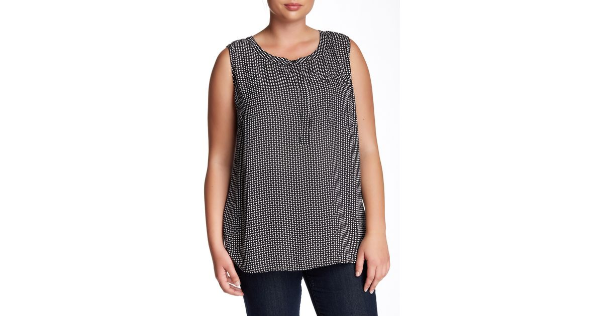 f83393f99a2 Lyst - Premise Studio Sleeveless Printed Blouse (plus Size) in Black