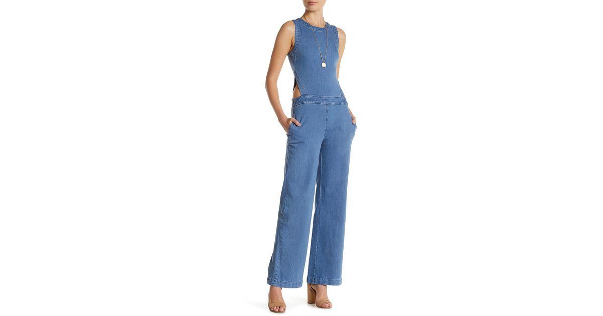 139fa15e22d Lyst - RACHEL Rachel Roy Cutout Denim Jumpsuit in Blue