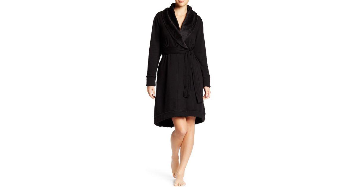 Lyst - Ugg Allinda Fleece Lined Robe in Black 918232e66