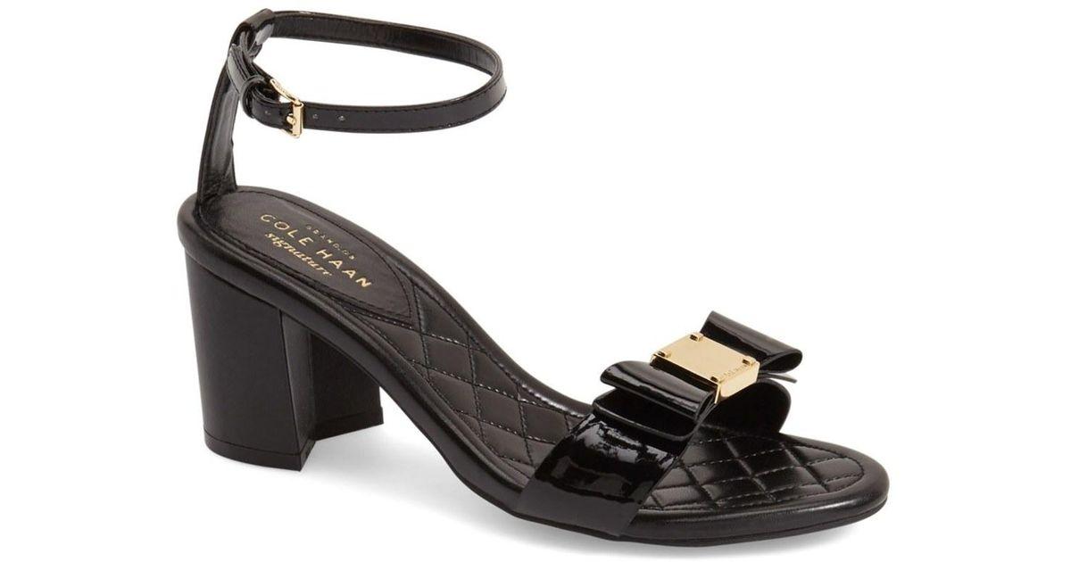 Cole Haan Tali Bow Block Heel Ankle Strap Sandal In Black