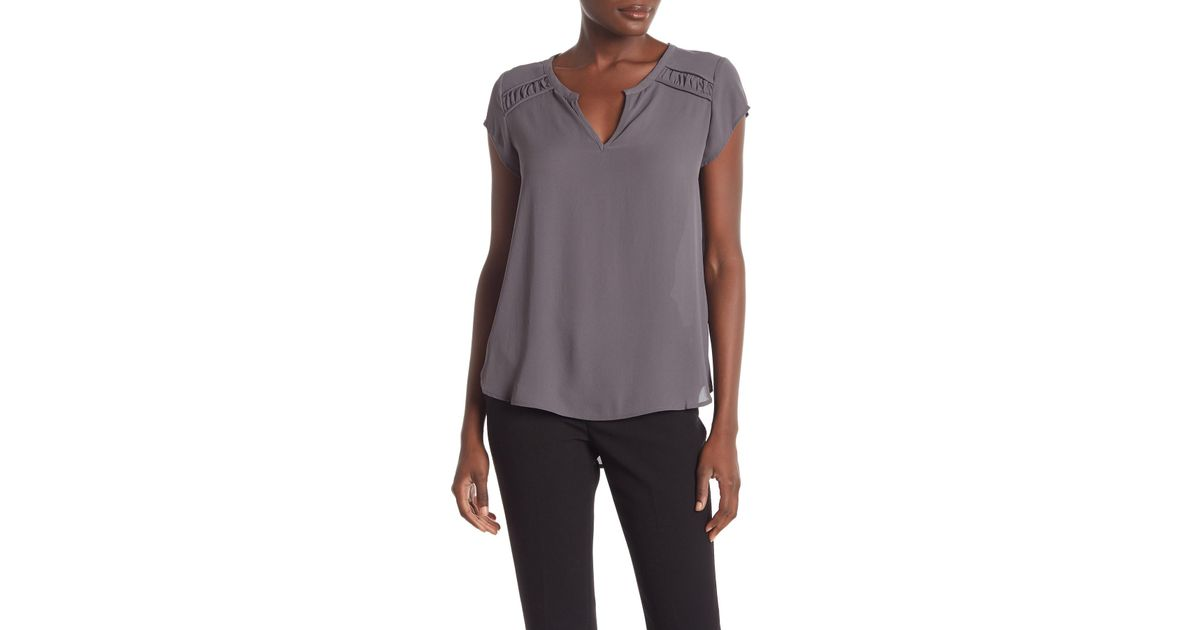 df3957d2795367 Lyst - Pleione Sofia Shirred Cap Sleeve Top in Gray