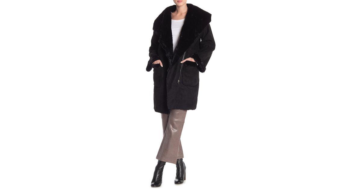 3668aec46 Religion Black Faux Fur Trim & Lined Succession Coat