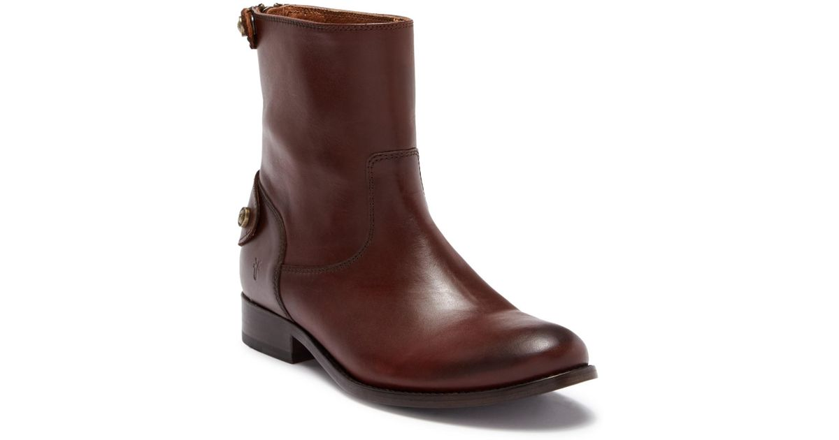 4db06aa2a0b Lyst - Frye Melissa Button Back Zip Short Boot in Brown