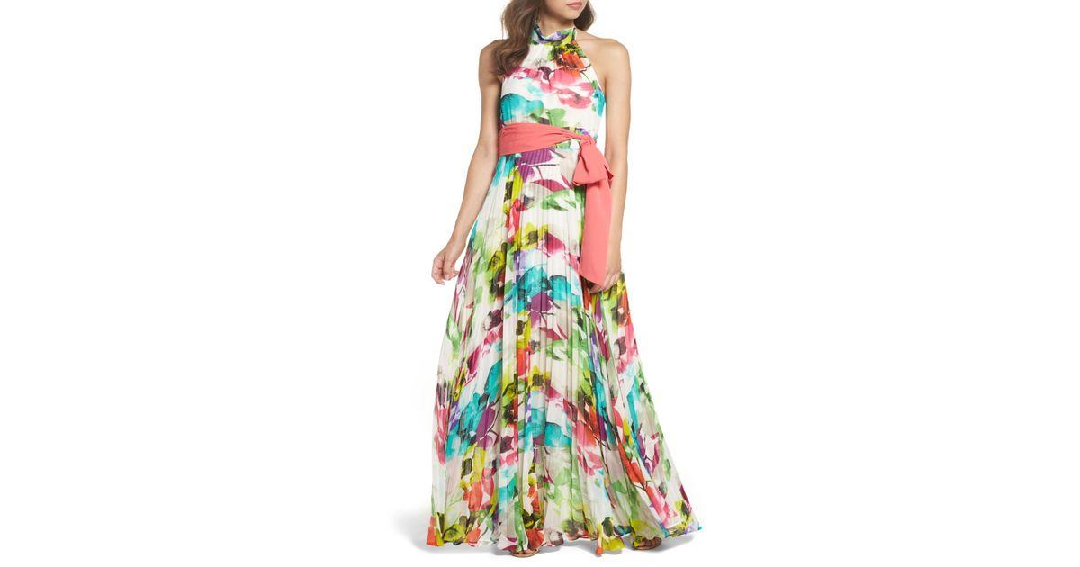 Eliza J Print Chiffon Halter Maxi Dress -