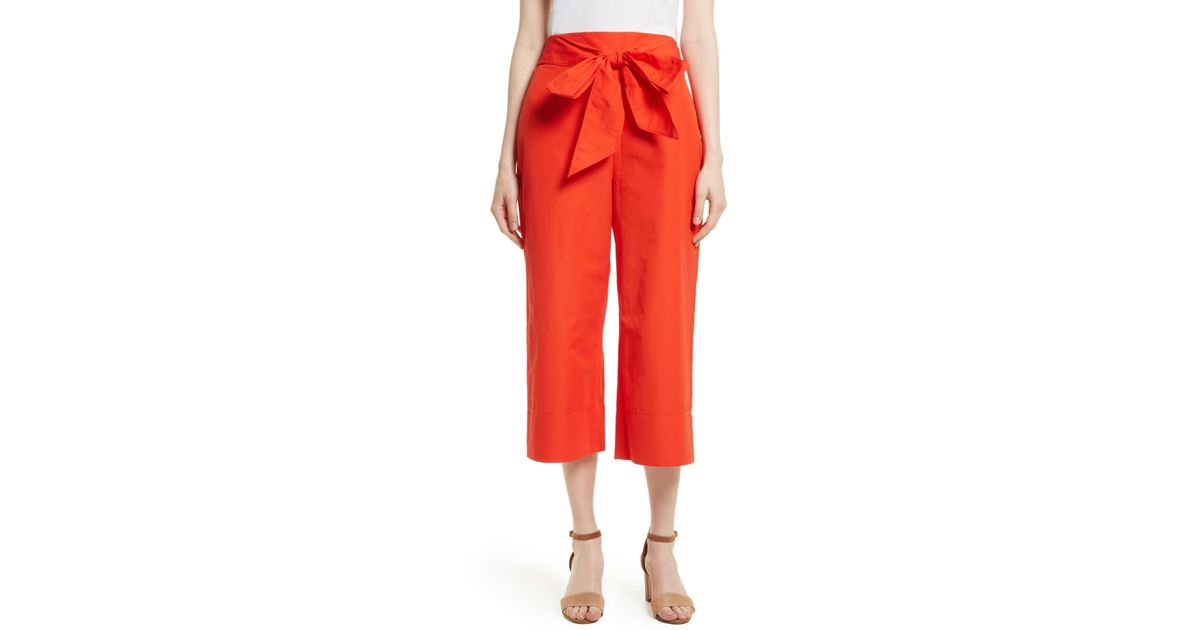 5a27945069a35 Kate Spade Red Tie Front Culottes