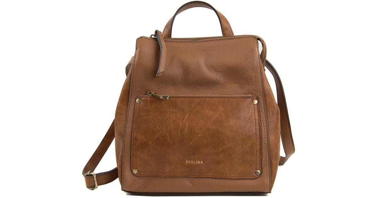 42ebcb7a862 Perlina Brown Judi Leather Convertible Backpack