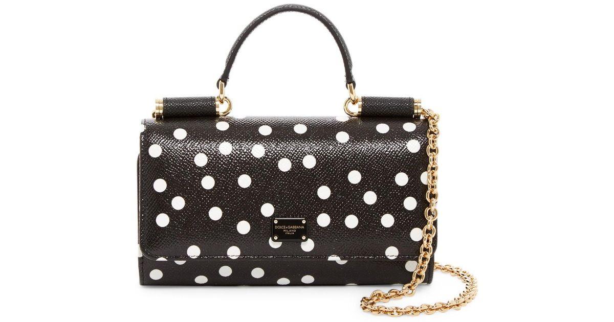 5d7418dd39f Lyst - Dolce   Gabbana Polka Dot Structured Leather Crossbody Bag in Black