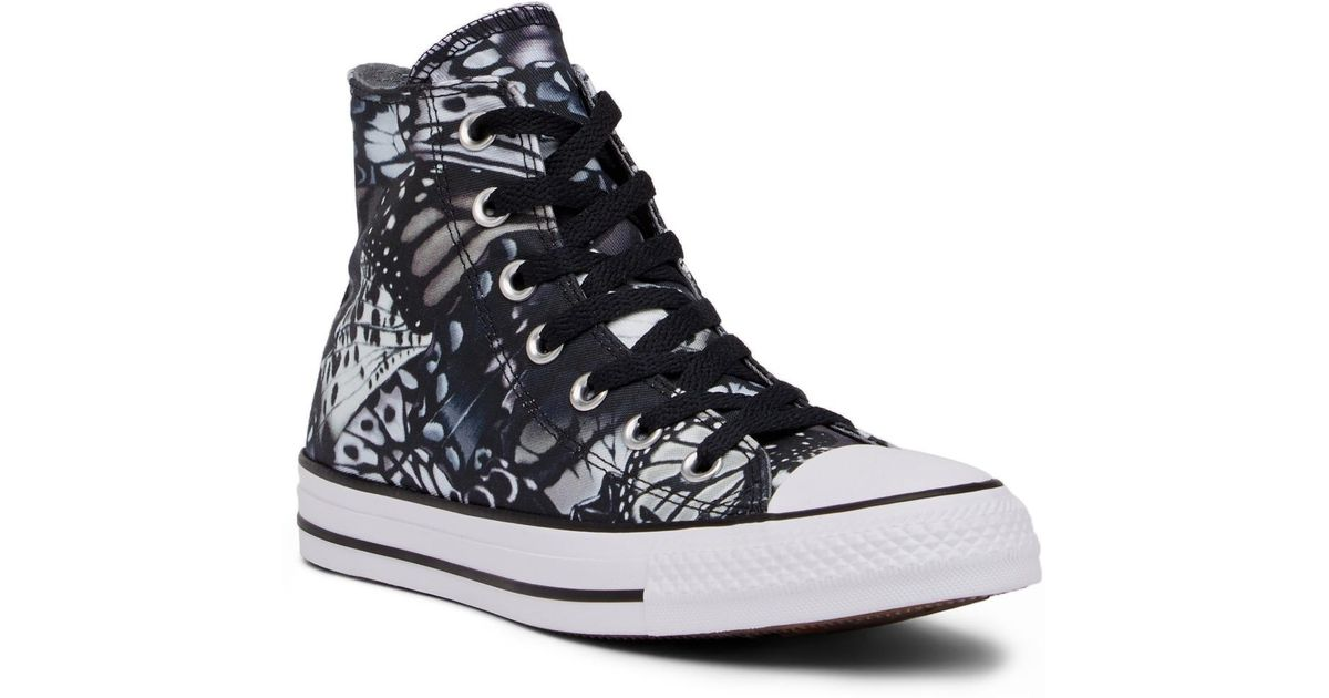 6a3e1f0f4539 Lyst - Converse Chuck Taylor All Star High Top Butterfly Graphic Sneaker in  Black
