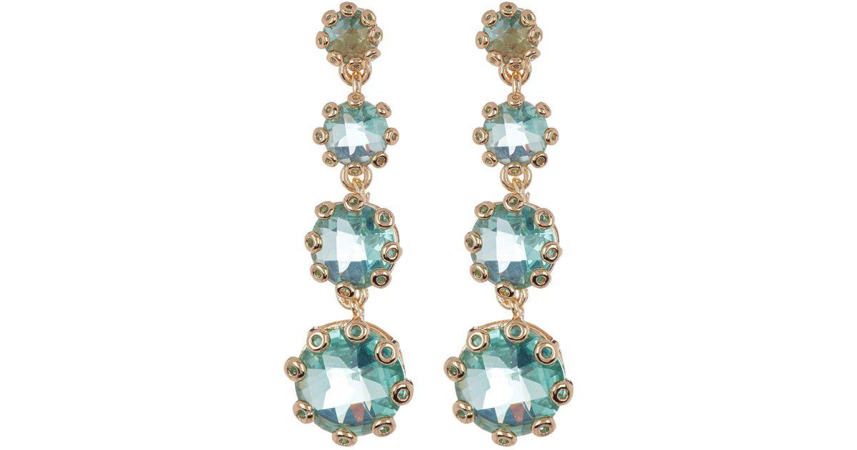 8e8142df2e07 Lyst - Jenny Packham Linear Stone Drop Earrings in Green