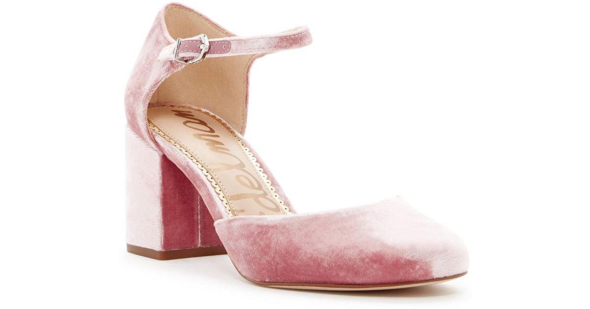 83a2380f6 Lyst - Sam Edelman Clover Velvet Pump in Pink