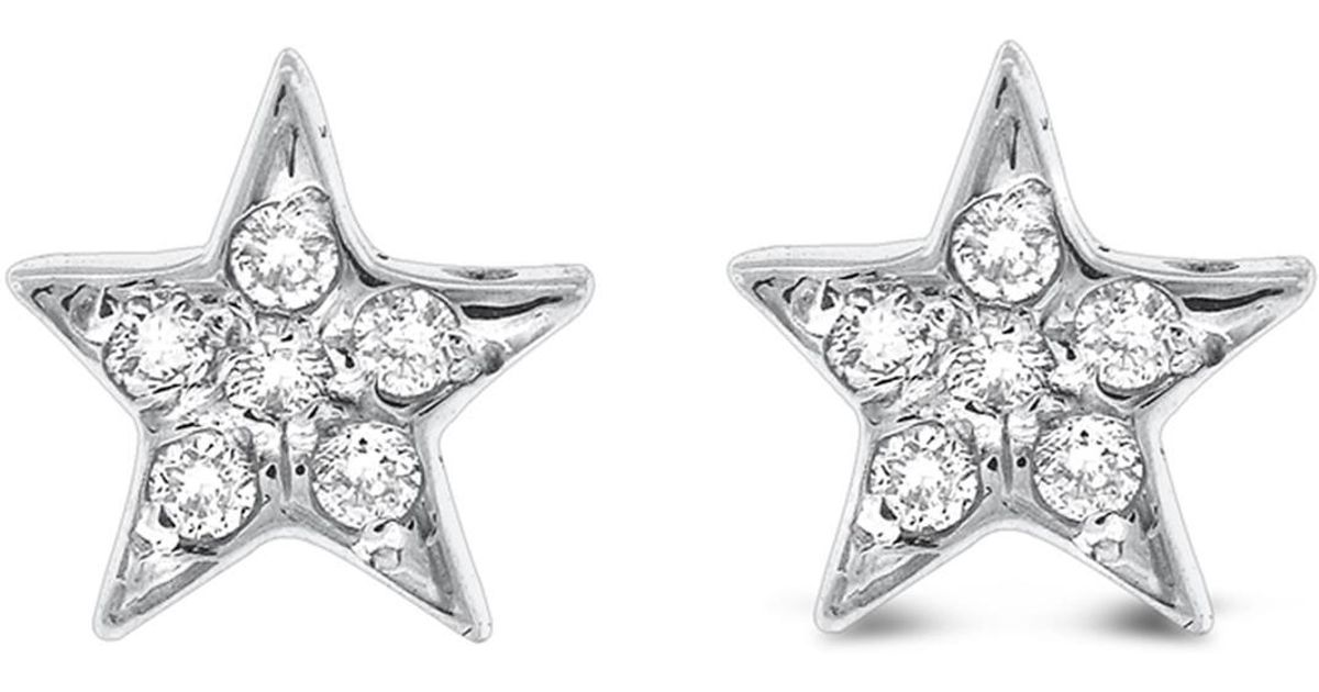 Lyst Kc Designs 14k White Gold Diamond Star Earrings 0 12 Ctw In