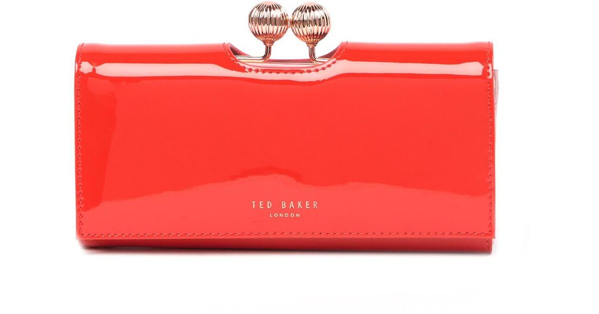 Ted Baker Bobble Patent Leather Wallet In Red Lyst