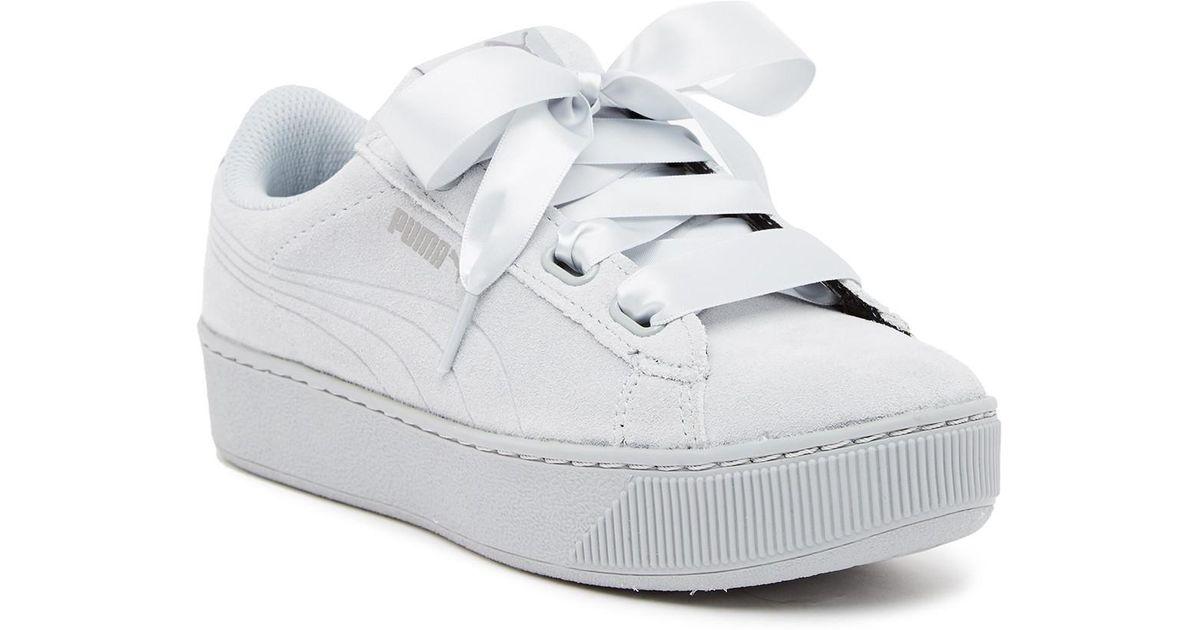 gut gut kaufen großer rabatt von 2019 PUMA Gray Vikky Ribbon Platform Suede Sneaker