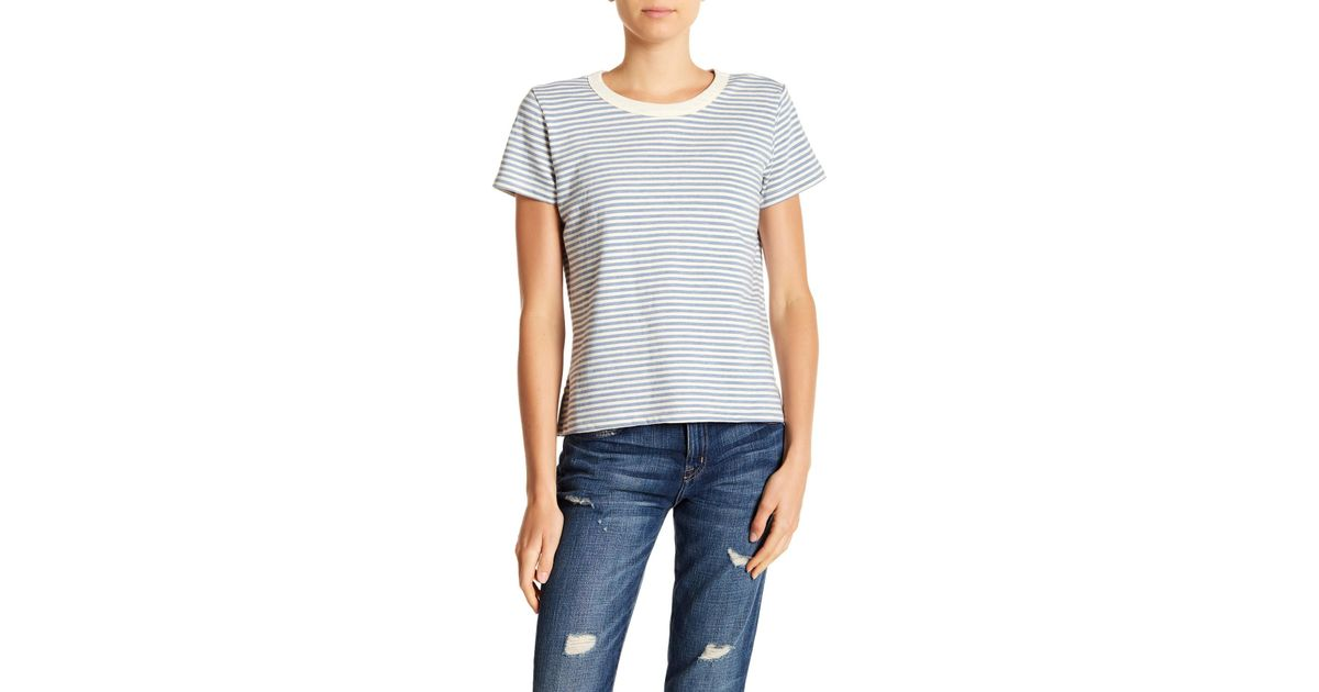 077a396573c01 Lyst - Current/Elliott The Boy Striped Tee in Blue