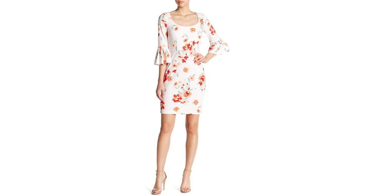 885c72fb Donna Morgan Floral Ruffle Cuff Sheath Dress in Pink - Lyst