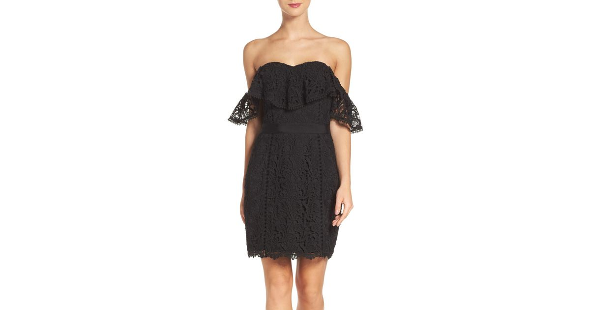5af2ae89 Lyst - Adelyn Rae Strapless Lace Dress in Black