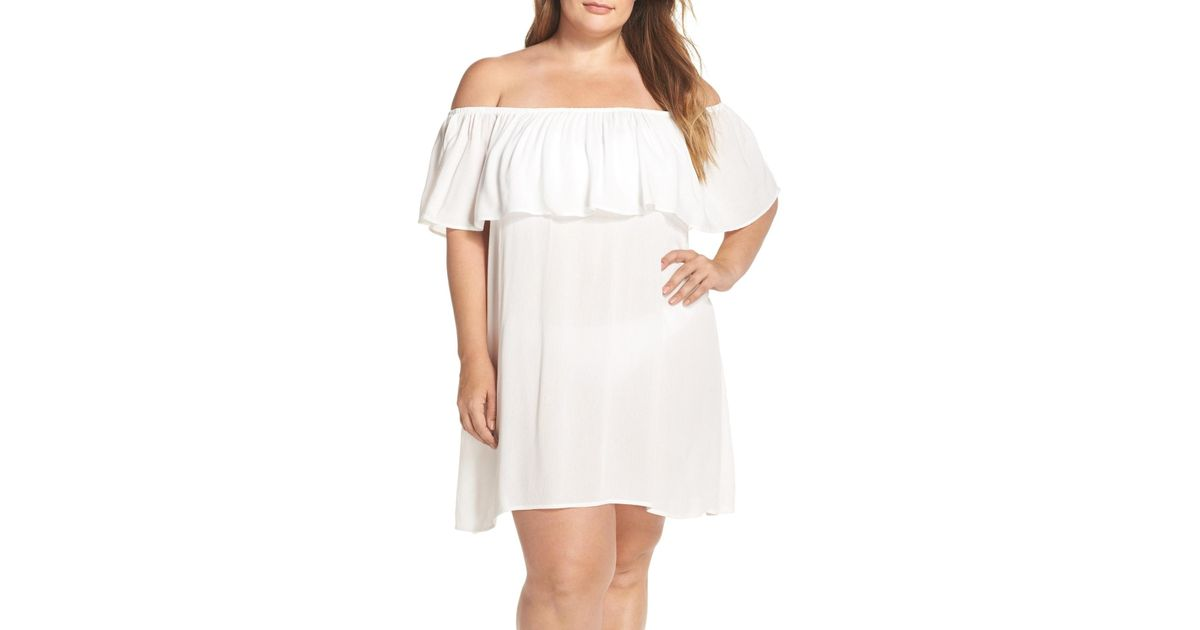 Becca White Southern Belle Off The Shoulder Cover-up Dress (plus Size)
