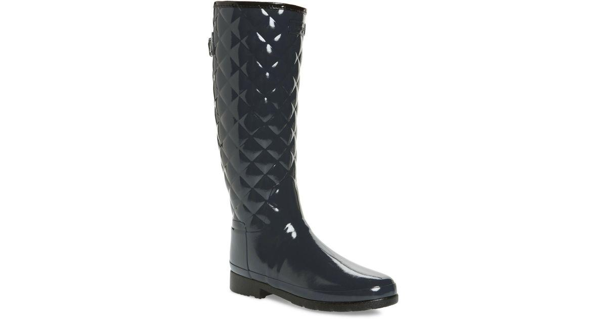 a84d7972898 Lyst - HUNTER Original Refined High Gloss Quilted Waterproof Rain Boot ( women)