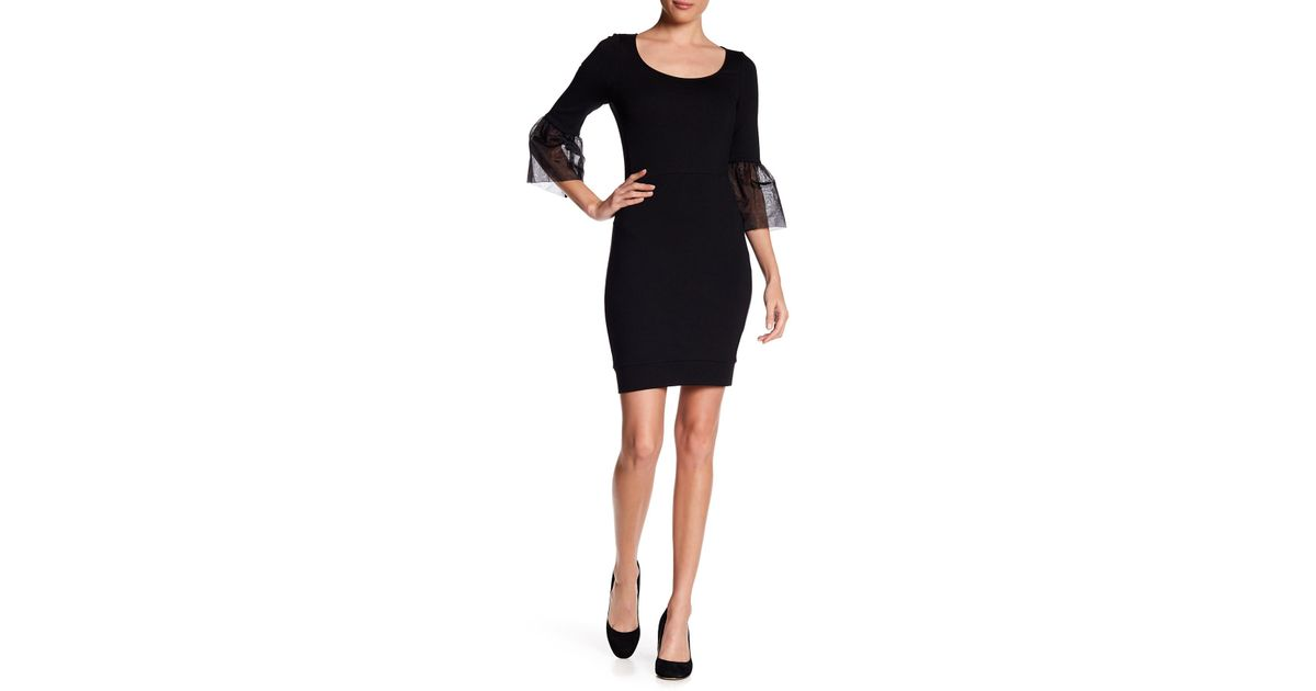 5f8307d21ed Lyst - French Connection Lula Bell Sleeve Dress in Black