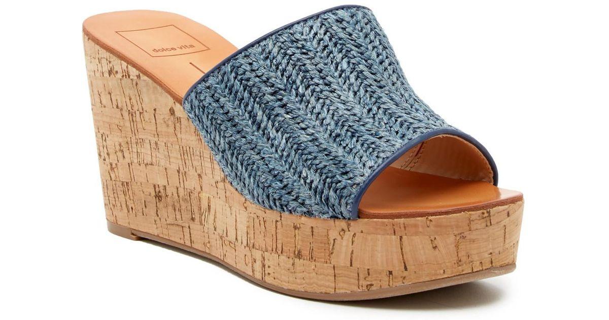 130aeafa4c7 Dolce Vita Blue Barkley Cork Wedge Sandal