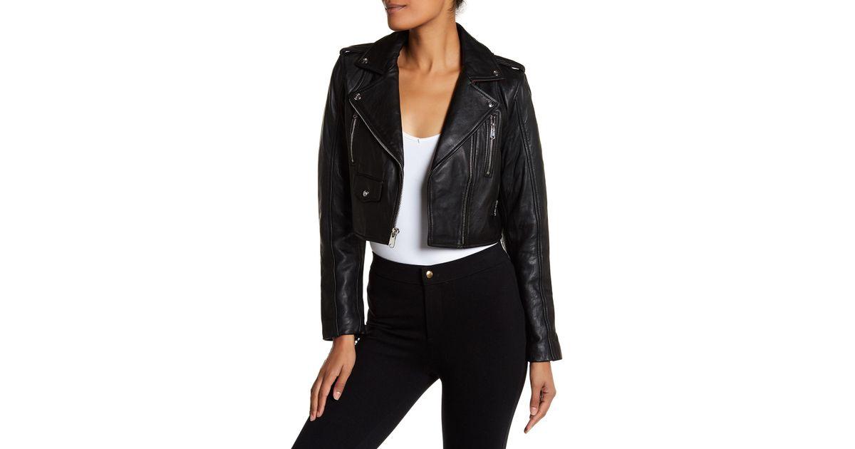 c29ff3c5b Sam Edelman Black Leather Asymmetric Zip Cropped Moto Jacket