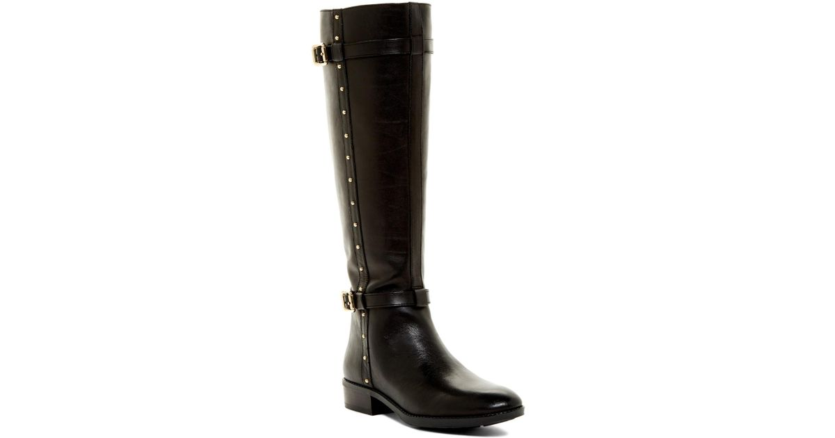 7acd129f8bf Lyst - Vince Camuto Preslen Studded Riding Boot in Black
