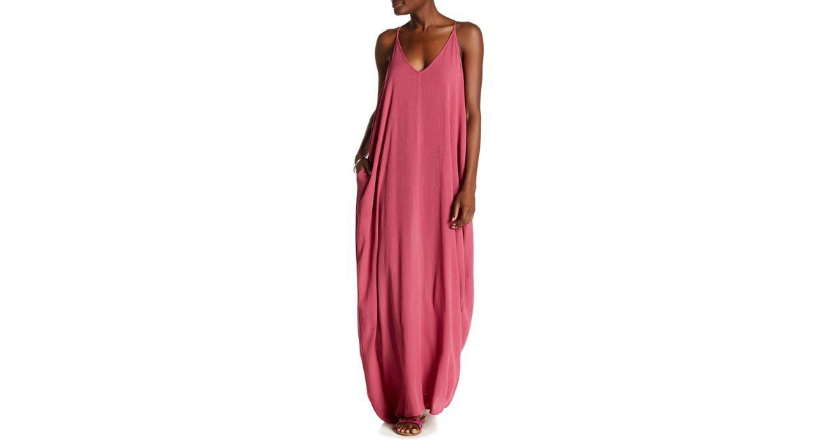 f9dc321f398 Love Stitch V-neck Sleeveless Gauze Maxi Dress in Pink - Lyst