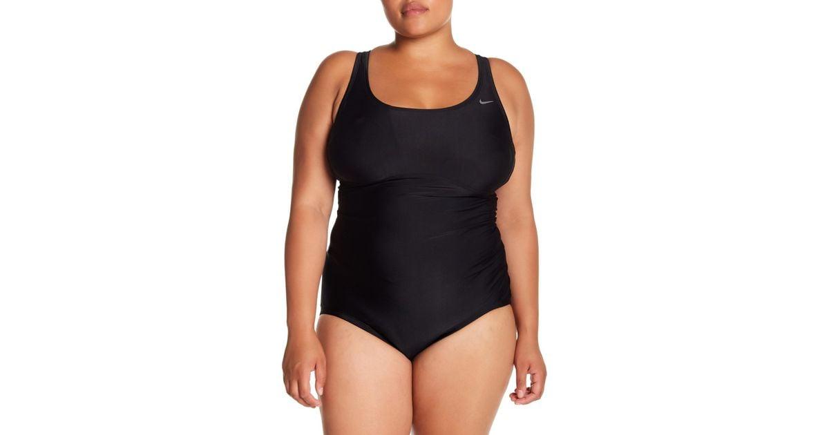 3f5546f526d43 Lyst - Nike Racerback One-piece Swimsuit (plus Size) in Black