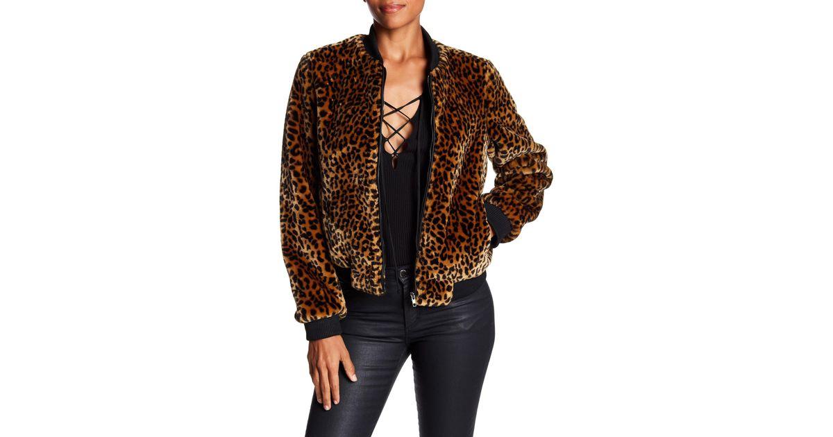 289092a8b Bagatelle Brown Leopard Faux Fur Bomber Jacket
