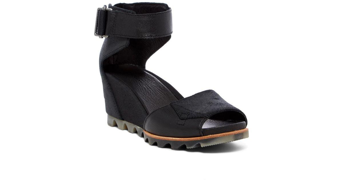 8922b20560a Lyst - Sorel Joanie Wedge Sandal in Black