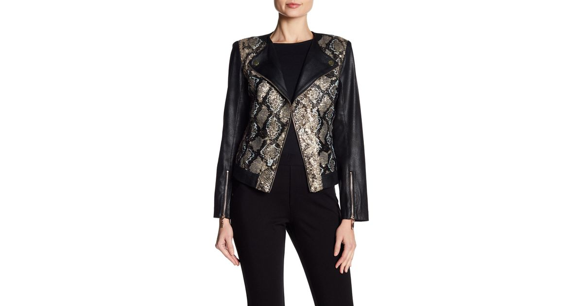 49755e97240e Insight Snake Patterned Sequin Faux Leather Moto Jacket in Black - Lyst