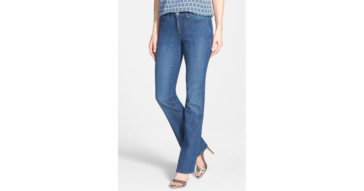 43719aad733 Lyst - Nydj 'billie' Stretch Mini Bootcut Jeans (petite) in Blue