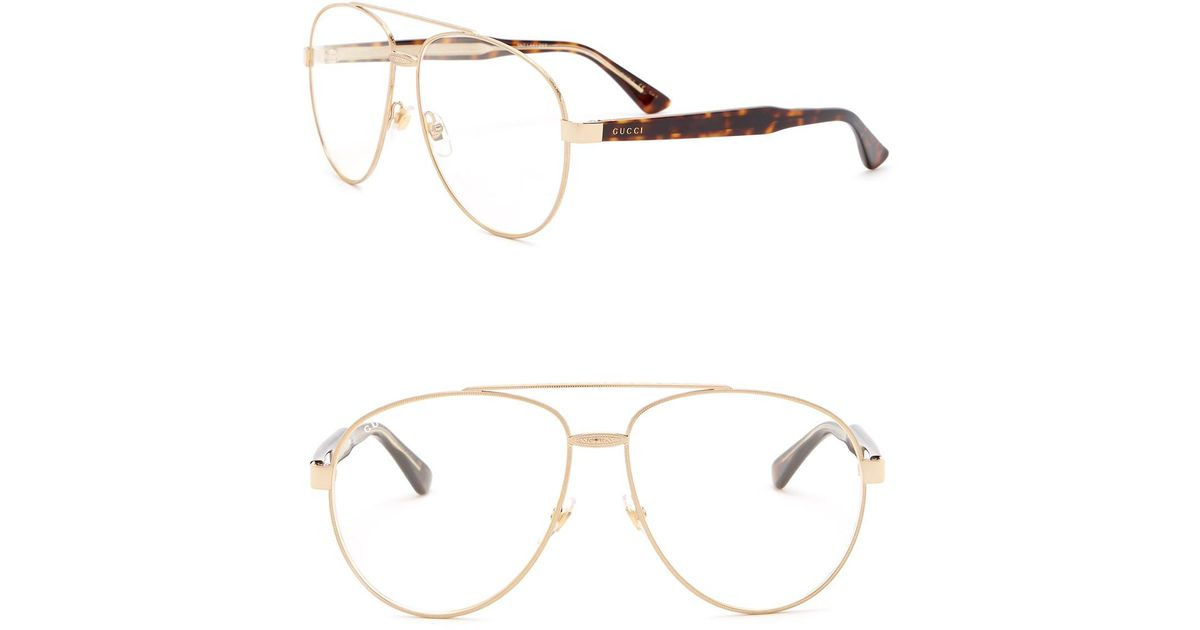 Lyst - Gucci 61mm Aviator Optical Frames for Men