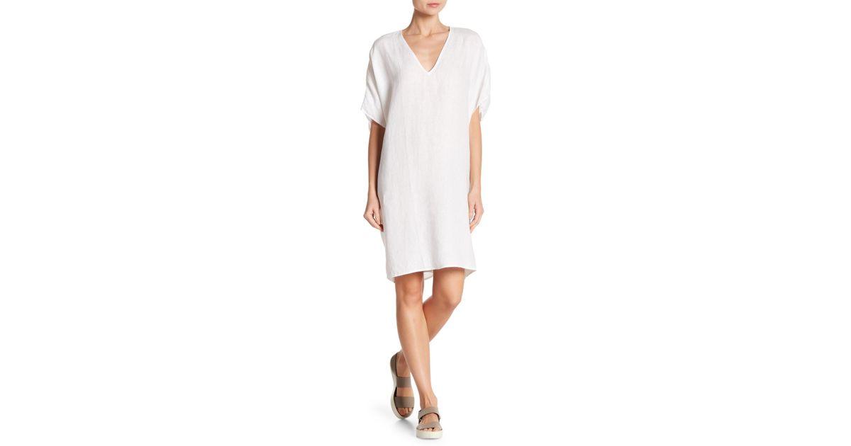 c60888e0a James Perse Linen Caftan Dress in White - Lyst