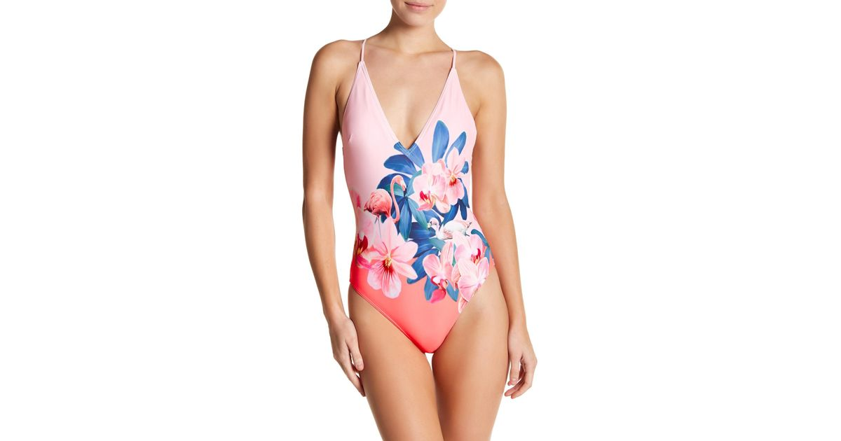 86c158faf7d Lyst - Ted Baker Orchid Wonderland Swimsuit in Pink