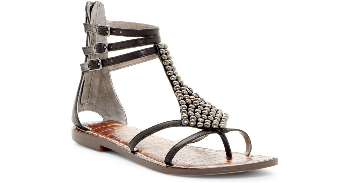 fdb6495b97c Lyst - Sam Edelman Ginger Beaded Gladiator Sandal in Black