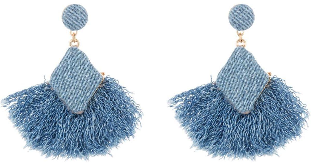e2dacf2f0 Shashi Dana Fringe Drop Denim Earrings in Blue - Lyst