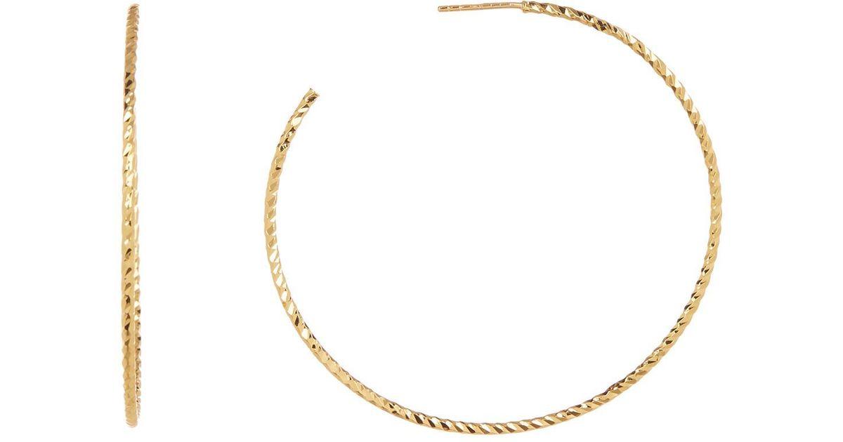 a3825407f1b82 Argento Vivo Metallic 18k Gold Plated Sterling Silver Diamond Cut Texture  Hoop Earrings