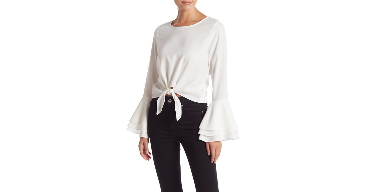 befda4fa08a265 Lyst - Likely Talcott Layered Bell Sleeve Tie Front Blouse in White
