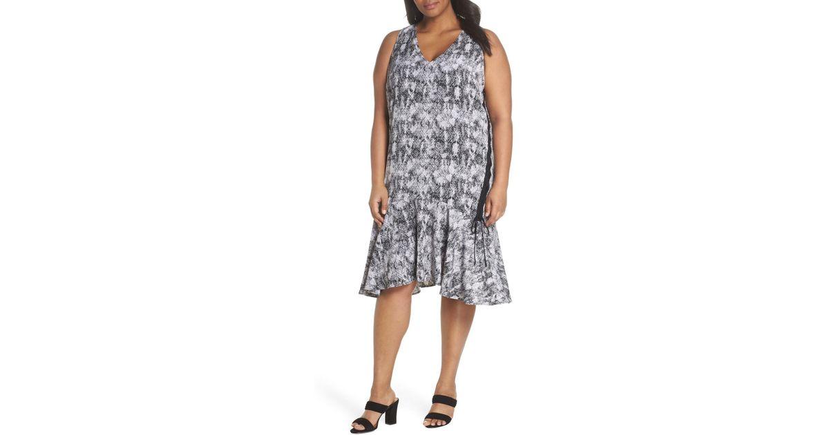 Lyst - Sejour Lace-up Drop Waist Dress (plus Size) in Black