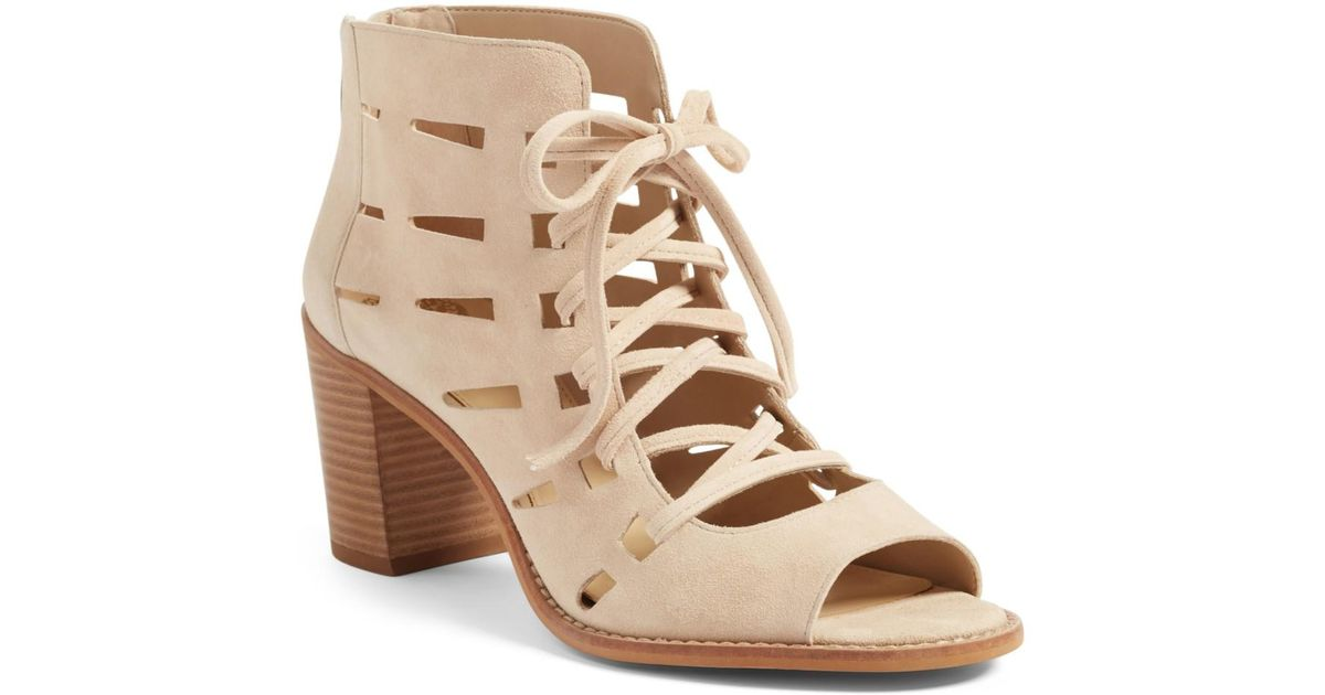 1bd9d1cfd65 Lyst - Vince Camuto Tressa Perforated Lace-up Sandal (women) in Natural