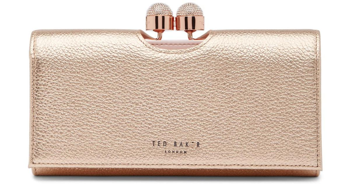 cab4373bd5ec00 Lyst - Ted Baker Pamelia Leather Bobble Matinee Wallet in Pink