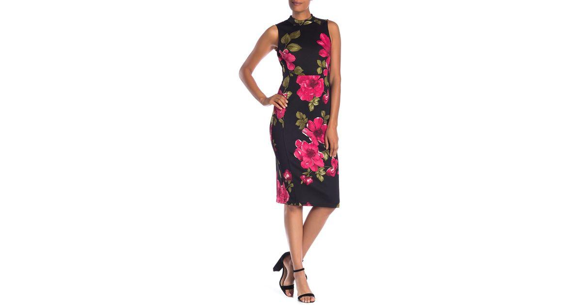 5b904bb1c88d Nine West Scuba Mock Turtleneck Sheath Dress (black/crimson Multi) Dress in  Black - Save 48% - Lyst