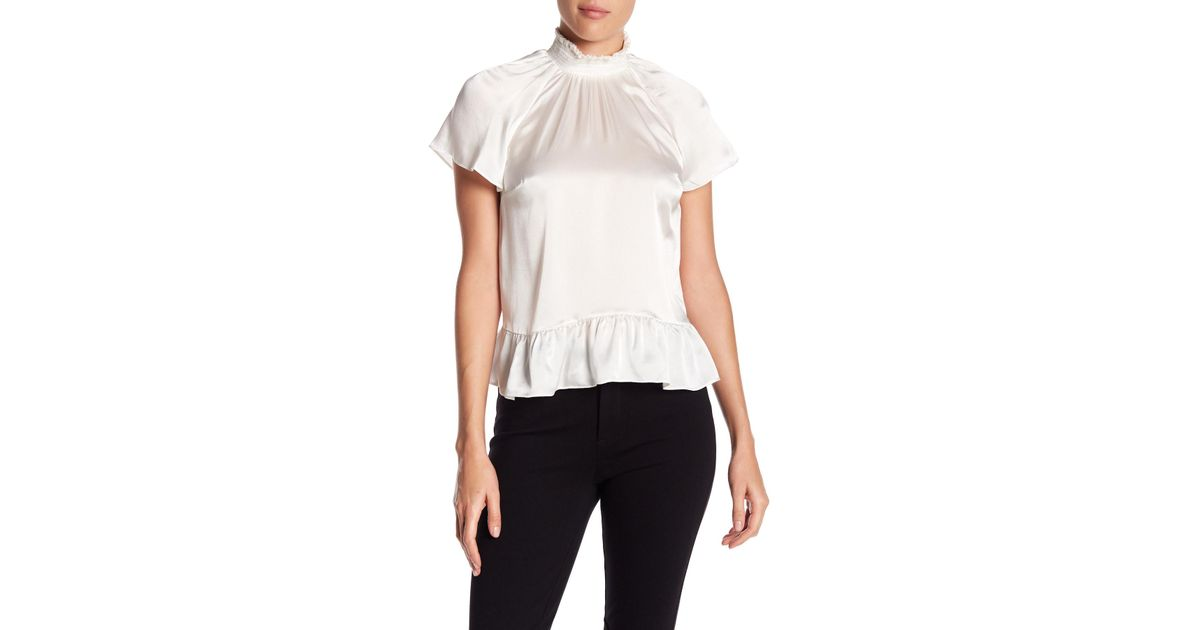 485c731f823 Lyst - Rachel Zoe Harbor Silk Ruffle Mock Neck Blouse in White