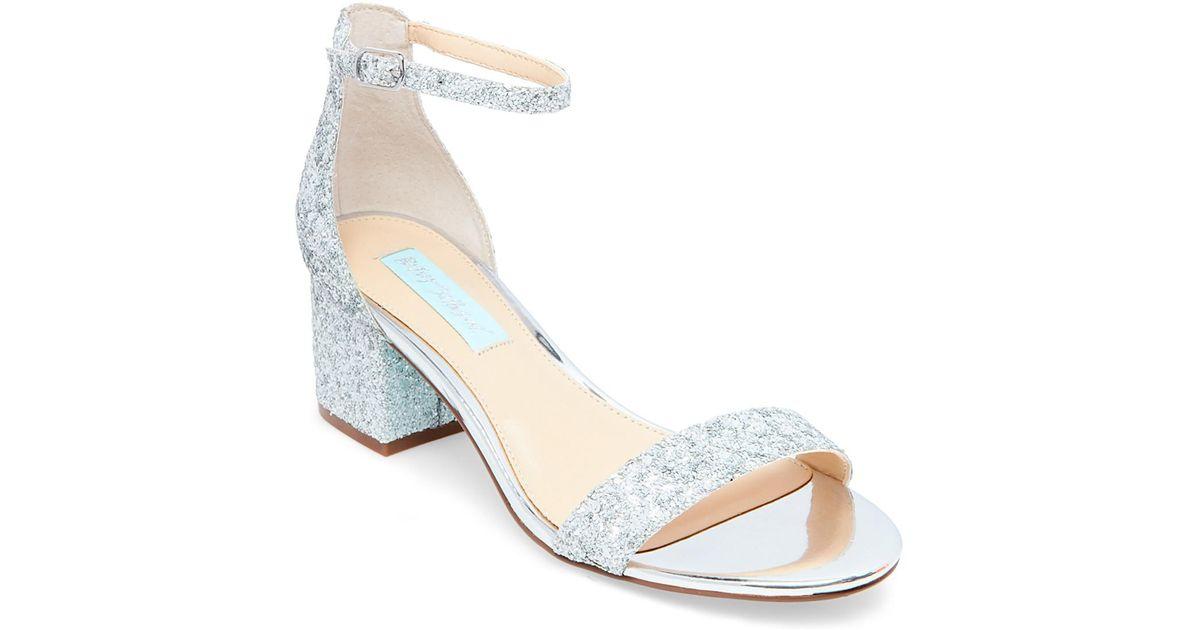 64f0e14ca546 Betsey Johnson Jayce Glitter Block Heel Sandal in Metallic - Lyst