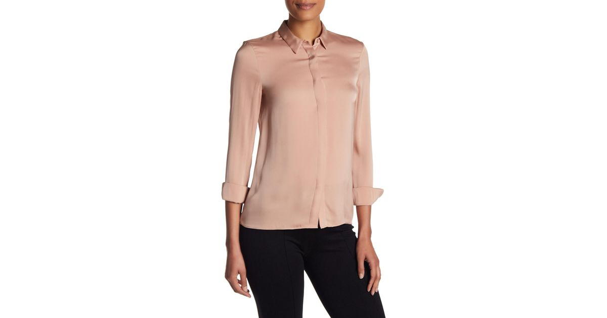 fb8e3a3481caa Lyst - Alice + Olivia Willa Small Collar Placket Top in Pink